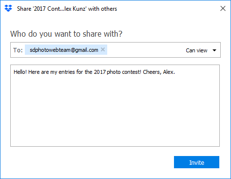 Dropbox Share Dialog Box