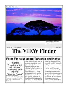 July 2001 Viewfinder Photo Club Newsletter