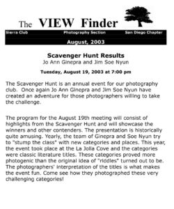 August 2003 Viewfinder Photo Club Newsletter
