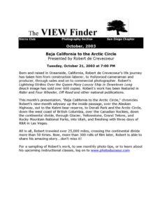 October 2003 Viewfinder Newsletter