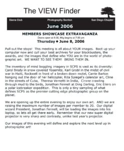 June 2006 Viewfinder Photo Club Newsletter