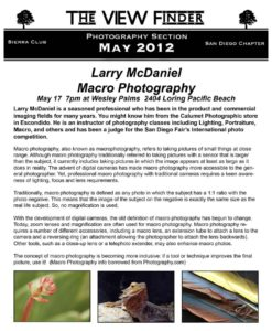 May 2012 Viewfinder Photo Club Newsletter