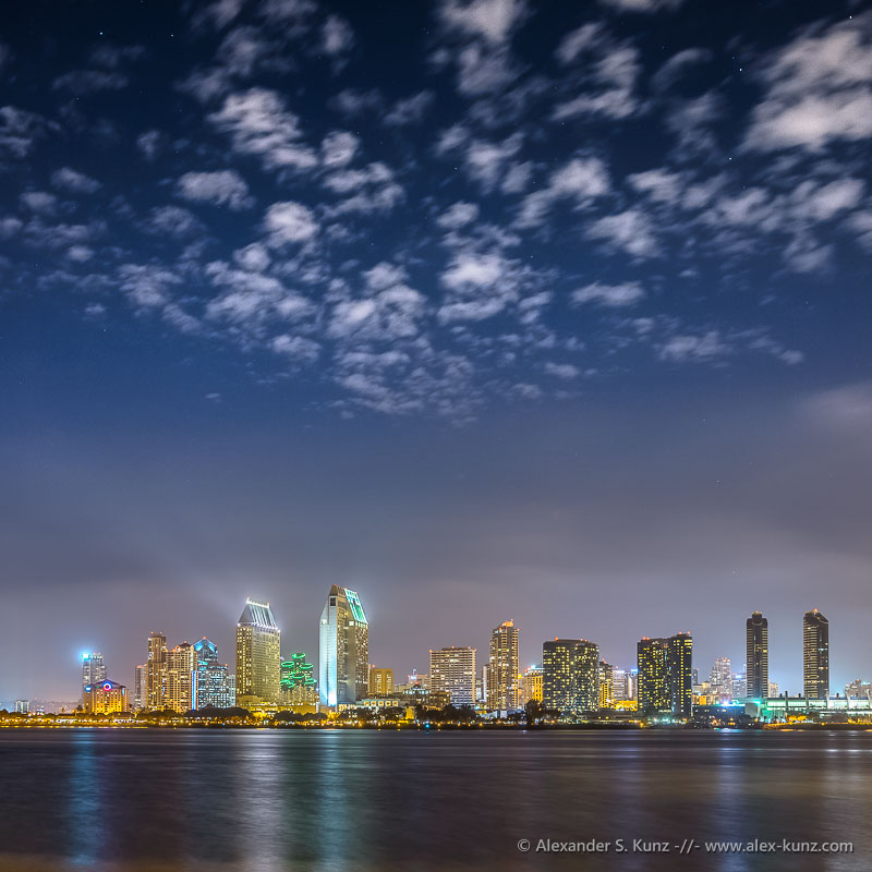 San Diego Skyline, Clouds and Stars - seen from the Ferry Landing, Coronado, San Diego, California. September 2012.